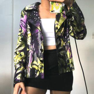 Joseph Ribkoff Funky Lime Green And Purple Blazer Coat