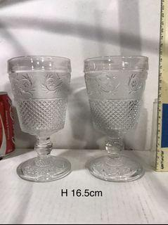 pair of vintage 16.5cm Drink ware Glass Goblet with Stem thick heavy