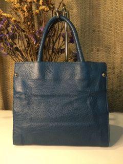 Popcorn…Blue Genuine Leather Handbag
