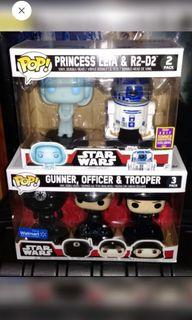 [SET OF 2] Star Wars Leia & R2D2 + any 1 of the 3-packs SW Funko Pop Bundle