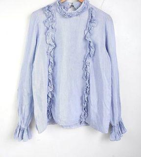Soft and Feminine! Ruffled Mockneck Pale Blue and White Pinstriped Top