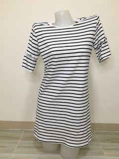 stretchable stripe shirt dress