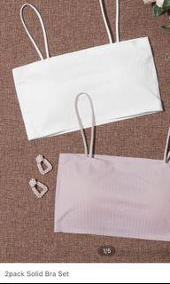 White & mauve bralette set with removable  padding