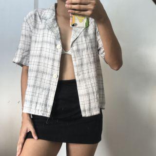 White Beige Blue Checkered Short Sleeve Boxy Button Down Polo Shirt