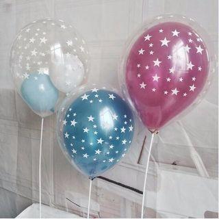 White Stars Clear Latex Balloons Happy Birthday Balloons