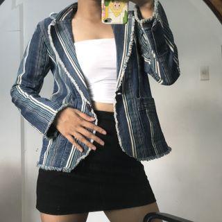 Y2K Denim Stripes Blazer Coat Jacket