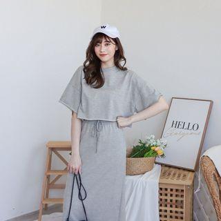 灰色兩件式套裝 圓領不修邊短版短袖上衣+鬆緊抽繩長裙