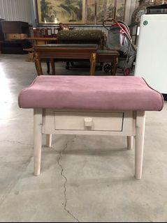 粉紫絨布單抽化妝椅&矮凳&椅凳&穿鞋椅&等候椅&房間椅&書桌椅&電腦椅&梳妝椅&梳化椅&休閒椅&鏡台椅