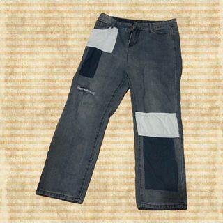 拼接直筒牛仔褲