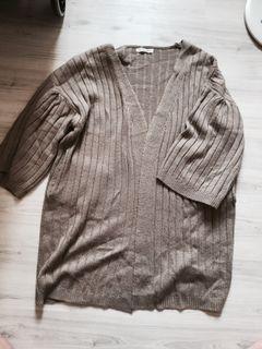 正韓卡其色粗針織七分寬袖厚實大衣外套 有口袋