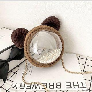 [完成品]小熊頭編織包 🐻 熊熊頭手工包包 熊頭包 透明包 小熊包 肩背包 斜背包