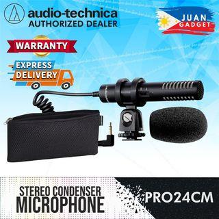 Audio-Technica PRO 24-CM PRO24CM Stereo Condenser Shotgun Microphone For DSLR Mirrorless Camera for Vlog Youtube Video Streaming Content