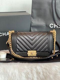 Authentic Chanel Leboy Chevron Old Medium Caviar In Black AGHW