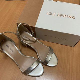 Call it Spring Silver Kitten Heels