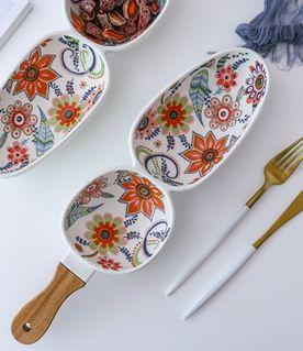 Ceramic Floral Serving Bowl with Handle