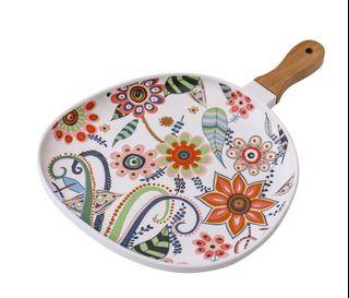 Ceramic Floral Serving Plate / Pan with Handle