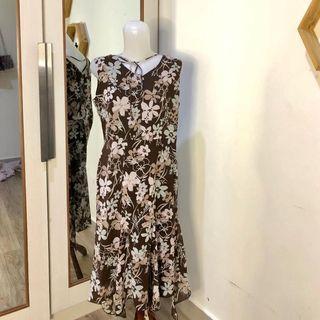 Chiffon floral brown dress