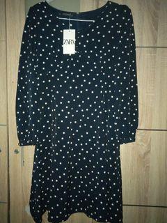Dress polka dark navy