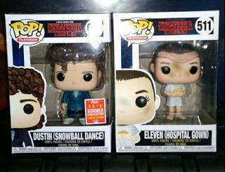 Dustin at Snowball Dance + Eleven in Hospital Gown or Steve w/ Sunglasses Stranger Things set of 2 Funko Pop Bundle