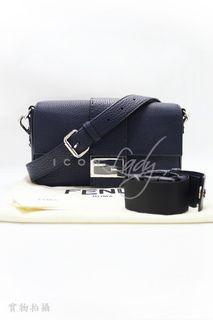 FENDI 7VA472 Baguette 深藍色Cuoio Romano小牛皮 三用 斜揹袋 側肩袋 腰包 手袋