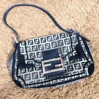 Fendi Zucca Brown Canvas Baguette Authentic hand Bag preloved shoulder