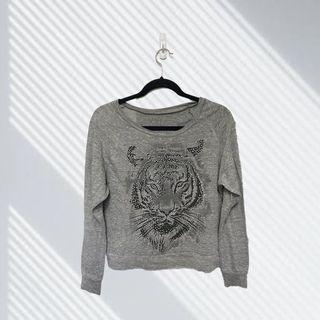 Forever 21 XXI Tiger Rhinestone Long Sleeve Top Size M