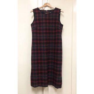 Jo-an瓊安 羊毛格紋洋裝 毛料 直筒 背心連衣裙 無袖 紅格子 復古 經典 正品 貴婦 長裙