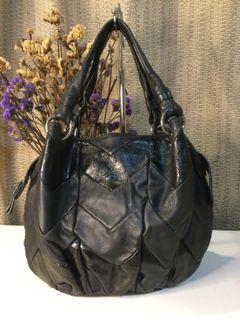 Joy and Peace…Black Patent /Smooth Leather Bucket Hobo