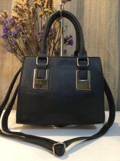 Marikai…Black Soft Saffiano Handbag with Sling
