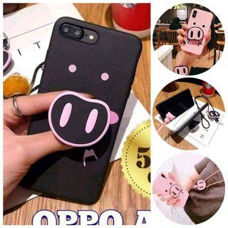 Paubos Sale! NOW P140 only! Pig Nose Case Set (Case + Pop Socket Grip Stand + Lanyard Strap Set / 2 colors: Light Pink and  Black Pink for OPPO A3s ( For other brands/models SOLD OUT)