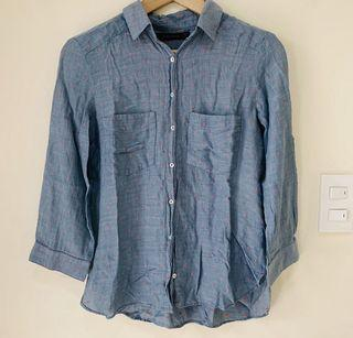 Super Soft! Zara Basic Chambray Cotton with Red Embroidered Pattern