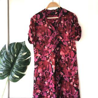 US Red Pink Floral Print Chiffon Long Top
