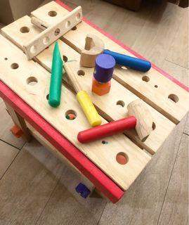 兒童益智工作台Wooden Work bench Toy 積木 工具 手眼協調 教具 肌肉發展 感覺統合 學齡前 木頭