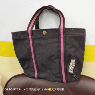 107*黑色桃紅邊 台南製永盛帆布手提包33*23CM-愛馬仕款