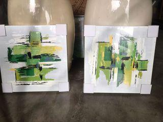 2 pcs 12 x 12 inches Modern Oil on Canvass Painting