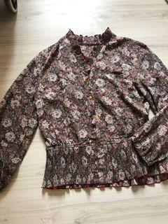 超美的古著雪紡荷葉邊褶皺花襯衫