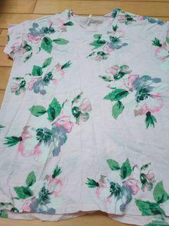 女韓國夏季粉色花朵寬鬆上衣