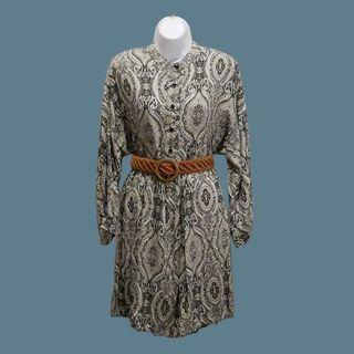 絲質印花典雅長袖洋裝