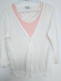女兩件式粉色條紋背心+白色純棉薄外套