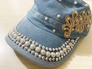 日貨 超有個性的牛仔鑲珍珠水鑽帽