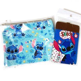 (出清)迪士尼 史迪奇票卡夾+萬用收納夾鏈袋
