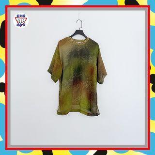 二手 男人味 綠棕配色 漸層 印花 微透 輕薄飄逸 無彈性 短袖 上衣 T JA723 【前列腺超音波】