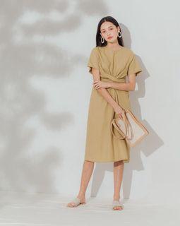 銅板價❤️ 韓國 ❤️ 綁帶交叉連身裙 棉麻 亞麻 pazzo mercci22 大饅大力 meier q