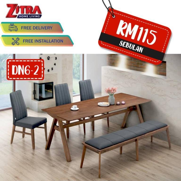 Dining Set Harga Promosi In Zitra Home, Round Table Promosi