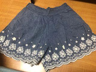 棉麻刺繡短褲-F尺碼