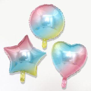 Gradient Pink Blue Yellow Star Hearts Round Foil Happy Birthday Balloon Christening Wedding Celebrate Congrats
