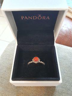 Pandora 7月誕生石紅玉髓戒指