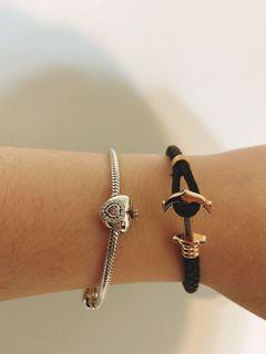 Pandora愛心釦頭手鏈+皇冠粉心串飾 超值割讓