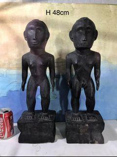 pair of vintage 48cm wooden Bulul or Bulol (Man and Woman)