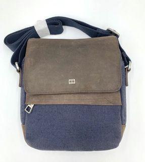 [展示品特價]Tommy 牛皮帆布側背包